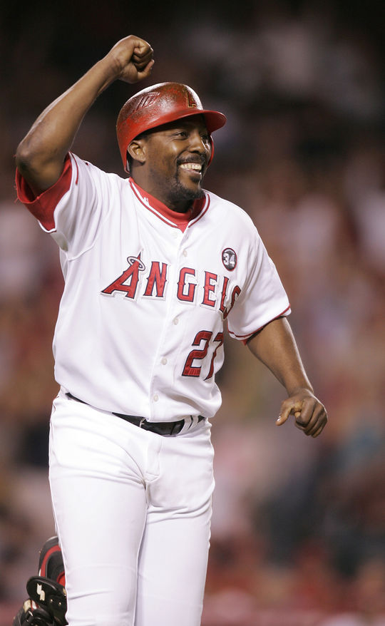 Vladimir Guerrero was named to nine All-Star Games, won eight Silver Slugger Awards and led his league in assists twice as an outfielder. (National Baseball Hall of Fame and Museum)