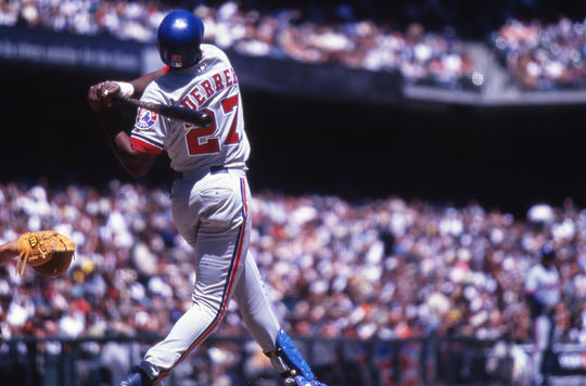 One of Vladimir Guerrero's best seasons came in 2002, when he led the National League in hits (206) and total bases (364) with the Expos, who signed him as an amateur free agent in 1993. (National Baseball Hall of Fame)
