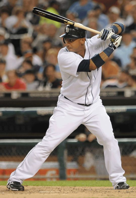 Carlos Guillen of the Detroit Tigers batting. (National Baseball Hall of Fame)