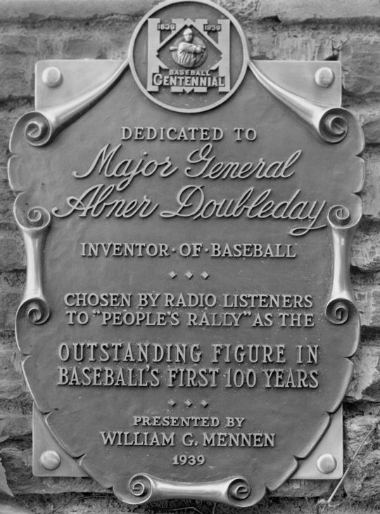 A plaque commemorating Major General Abner Doubleday was installed prior to the Hall of Fame's opening on June 12, 1939. (Homer Osterhoudt/National Baseball Hall of Fame and Museum)