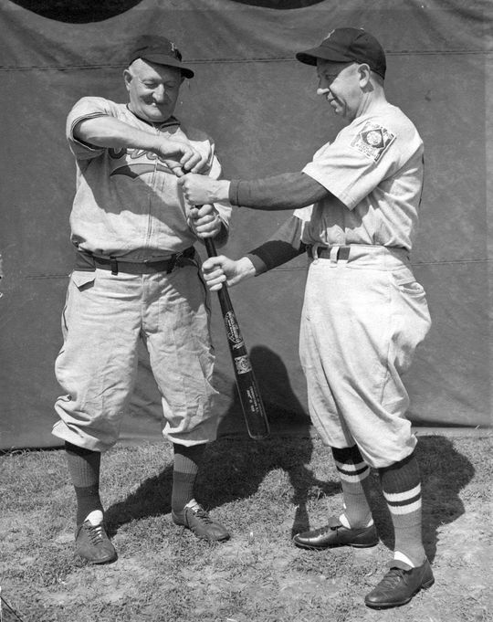 Honus Wagner (left) pictured with Eddie Collins, prior to the first Hall of Fame Game in 1939. (National Baseball Hall of Fame)
