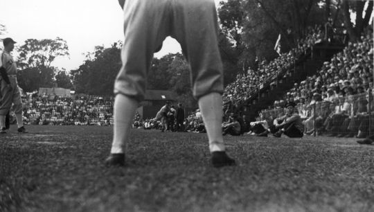 Cooperstown resident Homer Osterhoudt took this photo of Dizzy Dean warming up before the first Hall of Fame Game on June 12, 1939, at Doubleday Field. (Homer Osterhoudt/National Baseball Hall of Fame and Museum)