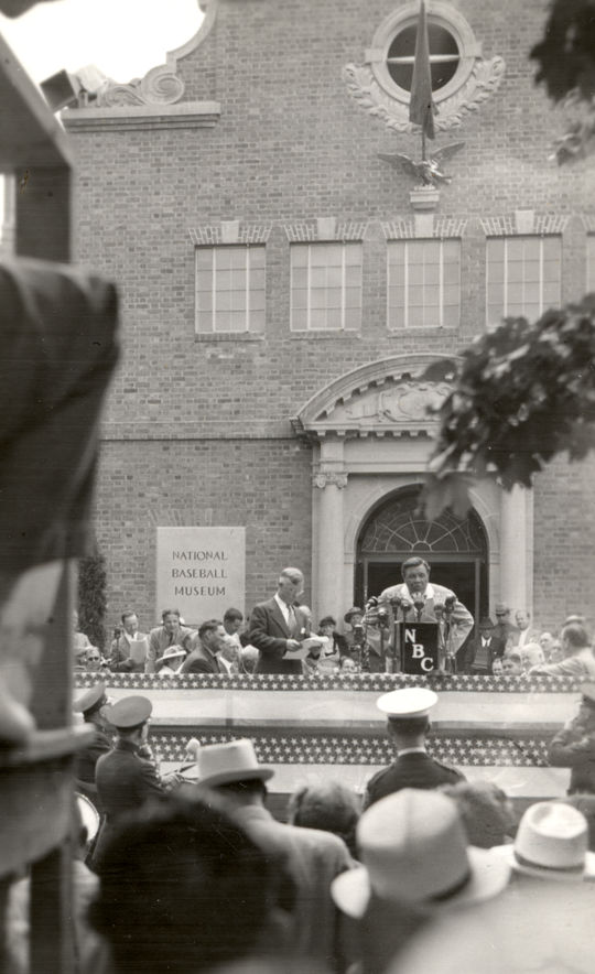 Babe Ruth giving a speech during the 1939 Induction Ceremony. BL-4795.72d (National Baseball Hall of Fame Library)