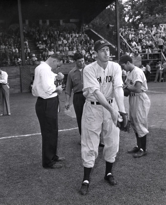DiMaggio standing near home plate at the 1947 Hall of Fame Game. BL-3527.2000 (National Baseball Hall of Fame Library)
