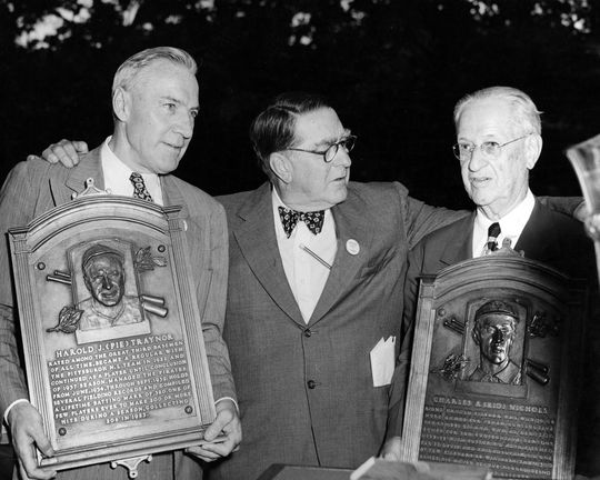 Class of 1949 inductees Pie Traynor and Kid Nichols stand with Brooklyn Dodgers executive Branch Rickey during Hall of Fame Weekend in Cooperstown. BL-107-50 (National Baseball Hall of Fame Library)