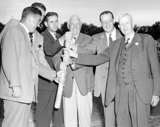 1950 Hall of Fame Weekend; left to right:  Mickey Cochrane, Carl Hubbell, Charlie Gehringer, Tris Speaker, Ed Walsh, and Cy Young at Doubleday Field (National Baseball Hall of Fame Library)