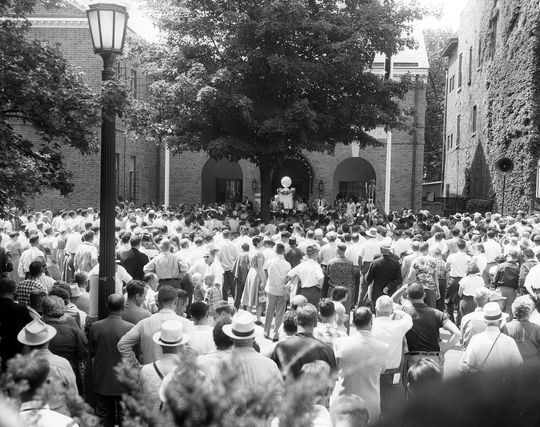 It is estimated that 3,000 fans lined the streets of Cooperstown on July 27, 1953, to witness the induction of eight new Hall of Famers. (National Baseball Hall of Fame)