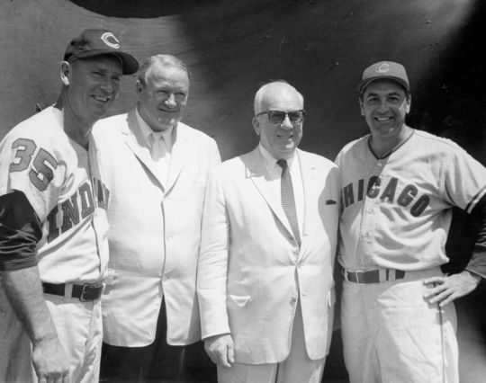 Four Hall of Famers gather at the 1960 Hall of Fame Game.  From Left to Right: Joe Gordon, Joe Cronin, Warren Giles, and Lou Boudreau. (National Baseball Hall of Fame Library)