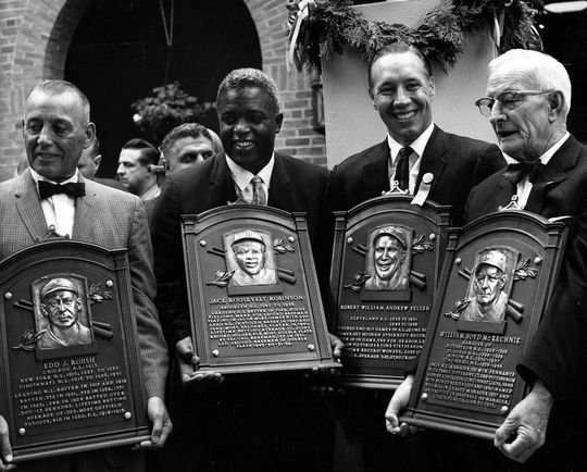 Jackie Robinson was inducted alongside three other baseball greats that year: Edd Roush, Bob Feller, and Bill McKechnie. BL-488.2001 (National Baseball Hall of Fame)