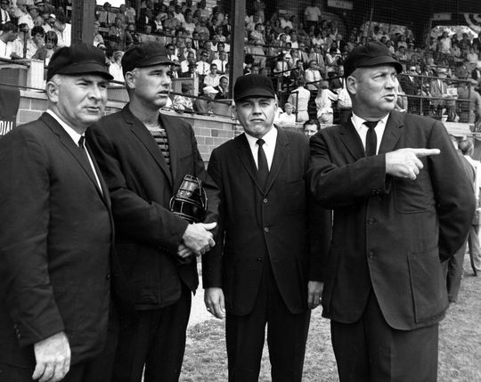 Umpires for the 1965 Hall of Fame Game. BL-532.2012.13 (National Baseball Hall of Fame Library)