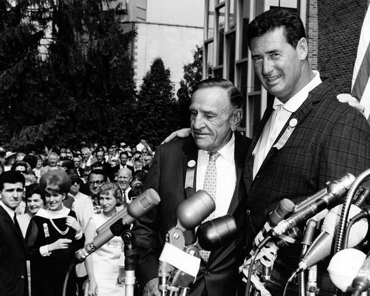 Casey Stengel was inducted into the Hall of Fame with Ted Williams (right) on July 25, 1966. (National Baseball Hall of Fame)