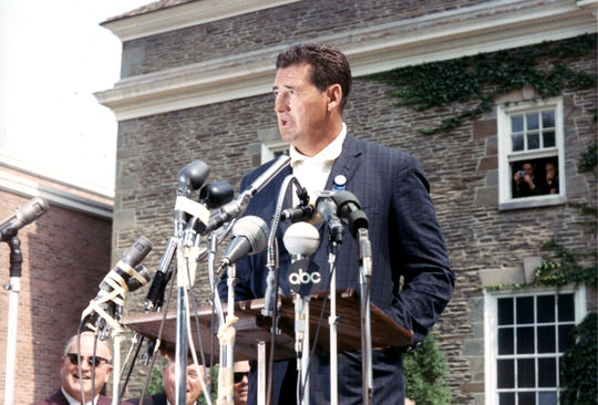 Ted Williams giving his acceptance speech during Hall of Fame Induction Weekend in 1966. (National Baseball Hall of Fame Library)