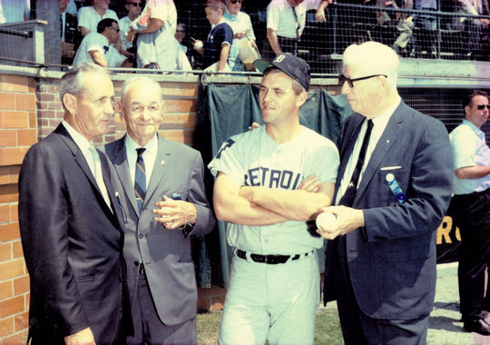 Denny McLain of the Detroit Tigers with Hall of Fame members Charlie Gehringer, Zach Wheat and Lefty Grove. BL-4936.92 (National Baseball Hall of Fame Library)