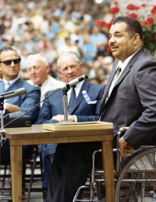 Hall of Fame 1969 inductee Roy Campanella giving his acceptance speech. (National Baseball Hall of Fame Library)