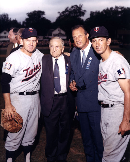 Minnesota Twins Charlie Silvera and Billy Martin with Hall of Famers Casey Stengel and Stan Musial at the Hall of Fame Game of 1969. (National Baseball Hall of Fame Library)