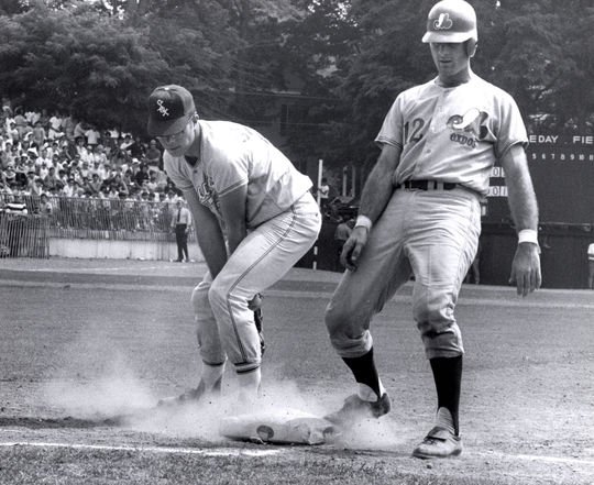 John Boccabella tagging up at first base. (National Baseball Hall of Fame Library)