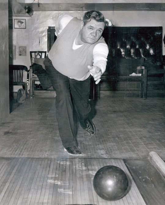 Babe Ruth bowled and played golf after retiring from baseball to stay active. (National Baseball Hall of Fame and Museum)