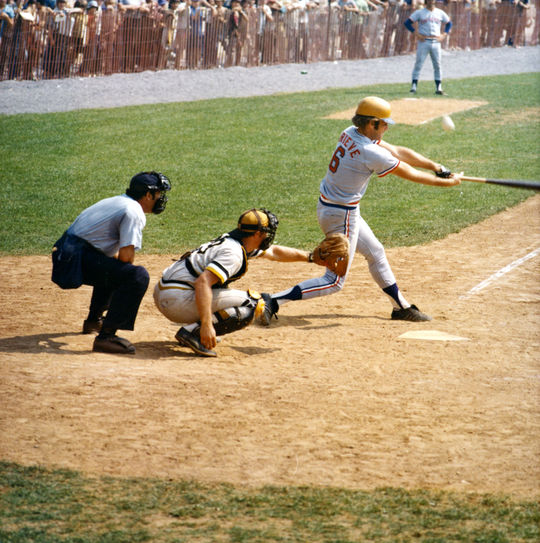 Tom Grieve of the Texas Rangers at bat during the 1973 Hall of Fame Game. (National Baseball Hall of Fame Library)