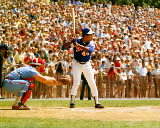 Future Hall of Famer Hank Aaron at bat during the 1974 Hall of Fame Game.  The catcher is Pete Varney. (National Baseball Hall of Fame Library)