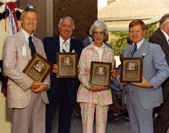 Al Kaline, Duke Snider, Jean Yawkey (wife of the late Tom Yawkey), and Robert Klein (great nephew of the late Chuck Klein) pictured at the 1980 <em> Induction Ceremony</em>. (National Baseball Hall of Fame)