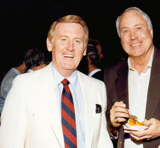 Vin Scully, show with former Dodgers star Duke Snider at Hall of Fame Weekend 1982, won the Ford C. Frick Award that year. (National Baseball Hall of Fame and Museum)