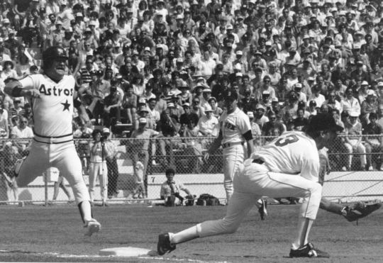 An Astros player trying to beat the throw to first base. BL-796.86 (Tom Ryder, National Baseball Hall of Fame Library)