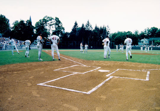 Houston Astros and Boston Red Sox players warming up on Doubleday Field.