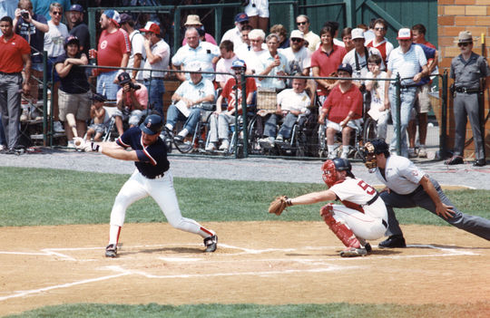 Wade Boggs taking a cut on Doubleday Field, 1989. BL-11523.89 (National Baseball Hall of Fame and Library)