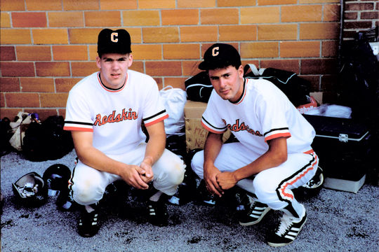 The batboy and ballboy for the 1992 HOF Game. (National Baseball Hall of Fame Library)