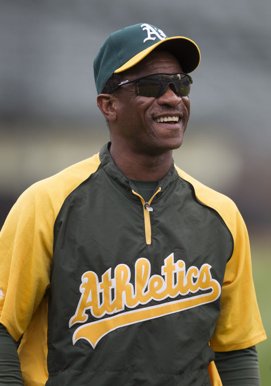 In 1990, Rickey Henderson scored an American League-best 119 runs and hit .325 en route to the AL Most Valuable Player Award. (Brad Mangin/National Baseball Hall of Fame and Museum)