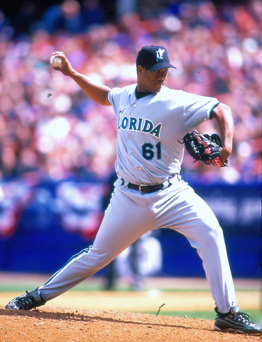 Liván Hernández was named MVP of both National League Championship Series and World Series in 1997, leading the Marlins to the title. (Rich Pilling/National Baseball Hall of Fame and Museum)