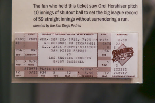 A fan's ticket to a game between the Los Angeles Dodgers and San Diego Padres -- in which Dodgers pitcher Orel Hershiser set the all-time record with 59 consecutive scoreless innings -- is on display in the <em>One for the Books</em> exhibit on the Museum's third floor. (Parker Fish / National Baseball Hall of Fame)