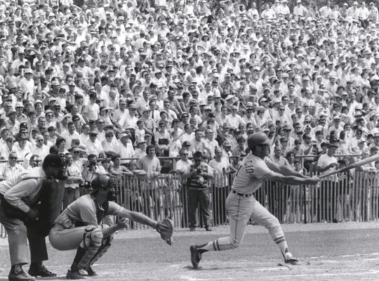 Luis Aparicio batting in the 1970 Hall of Fame Game. (National Baseball Hall of Fame)