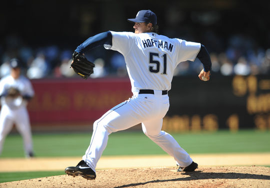 Trevor Hoffman of the San Diego Padres pitching during a 2008 game. BL-356.2009.102 (San Diego Padres / National Baseball Hall of Fame)