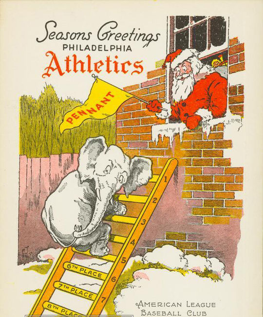 "The holiday card from the 1947 Philadelphia Athletics shows the team mascot climbing the ""ladder"" of the American League standings. (National Baseball Hall of Fame and Museum)"