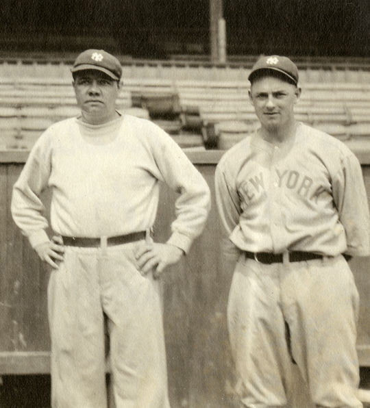 Waite Hoyt and Babe Ruth were teammates for ten years, including nine with the Yankees' dynasty in the 1920s (image cropped).  BL-4122-91  (National Baseball Hall of Fame and Museum)