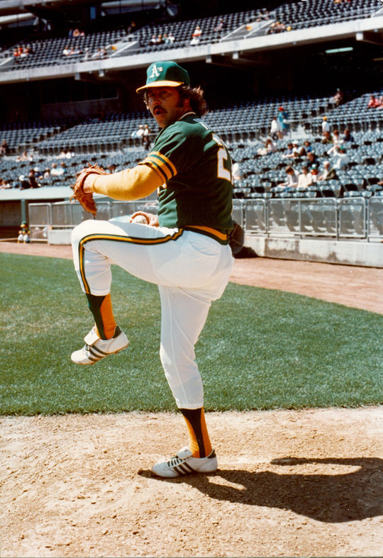 Catfish Hunter, pictured above, and Gene Tenace were teammates in Oakland during the A's dynasty in the 1970s. (National Baseball Hall of Fame and Museum)