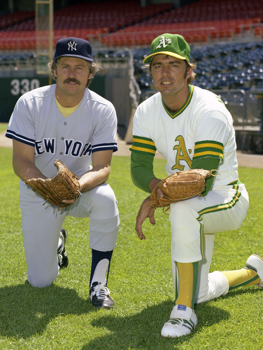 Catfish Hunter joined the Yankees in 1975 after a contract breach made him a free agent following 10 seasons with the Athletics, including three as a teammate with Dave Hamilton (right). Those three seasons, 1972-74, ended with the A's as World Champions each time. (Doug McWilliams/National Baseball Hall of Fame and Museum)