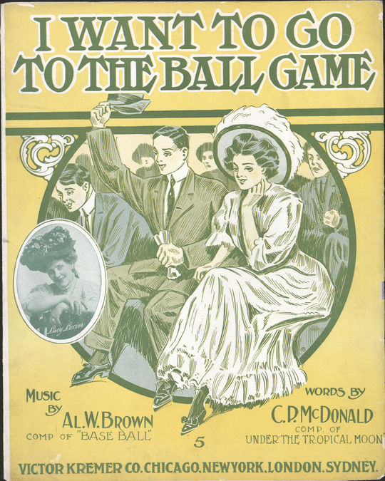"The front cover for the sheet music to ""I want to go to the ball game,"" 1909. BL-369.55 (National Baseball Hall of Fame Library)"