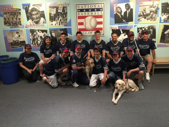 Members of the Boston Renegades club from the National Beep Baseball Association (NBBA) visited the National Baseball Hall of Fame and Museum on Aug. 2. (Andrew Distler / National Baseball Hall of Fame)