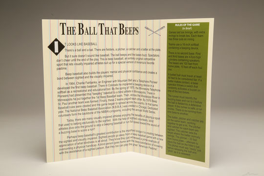 An inside page of the National Beep Baseball Association (NBBA) rule book describes the origins of this unique game. (Parker Fish / National Baseball Hall of Fame)
