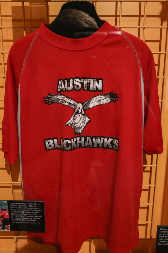 Brandon Chesser wore this uniform while playing for the Austin Blackhawks, a Texas-based Beep Baseball Team. The Blackhawks defeated Indianapolis' RHI X-Treme 14-8 to win the 2014 National Beep Baseball Association World Series held in Rochester, Minnesota. B-5-2015 (Parker Fish / National Baseball Hall of Fame)