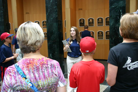 Museum visitors participate in a Plaque Gallery Tour.