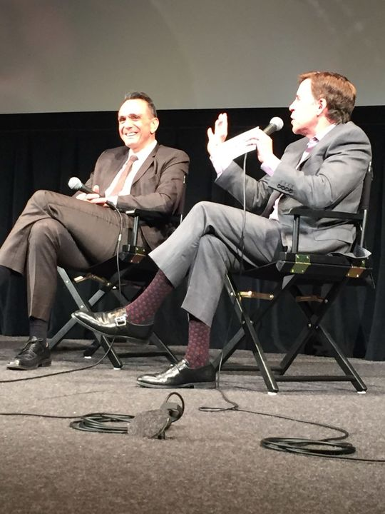 Bob Costas interviews Hank Azaria (left) to celebrate the Season 2 premiere of <em>Brockmire</em>, at the Walter Reade Theater in New York City on April 18, 2018. (Bill Francis/National Baseball Hall of Fame and Museum)