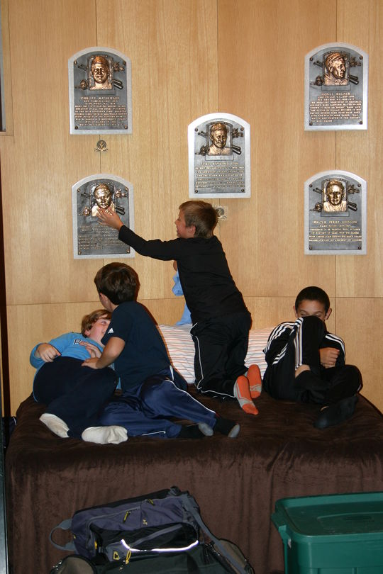 Sleeping in the Plaque Gallery is just a part of the Extra Innings Overnights experience at the Museum. (Milo Stewart Jr./National Baseball Hall of Fame)