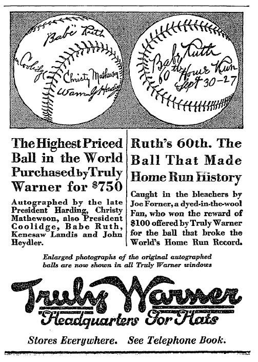 Joe Forner, a 40-year-old truck driver from the Bronx, retrieved Babe Ruth's 60th home run ball and promptly sold it to Truly Warner for $100.  (National Baseball Hall of Fame)