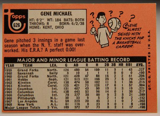 1969 Topps Gene Michael baseball card reverse side. (Milo Stewart, Jr. / National Baseball Hall of Fame)