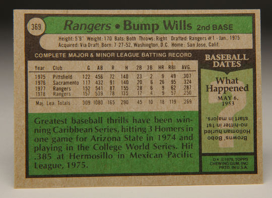 Reverse side of 1979 Bump Wills' Topps card. (Milo Stewart, Jr. / National Baseball Hall of Fame)