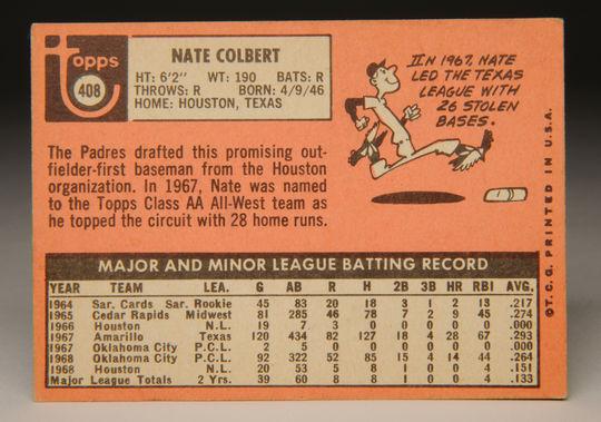 Reverse side of 1969 Nate Colbert Topps card. (Milo Stewart, Jr. / National Baseball Hall of Fame)