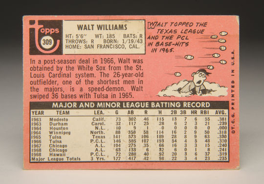 Reverse side of the 1969 Walt Williams Topps card. (Milo Stewart, Jr. / National Baseball Hall of Fame)